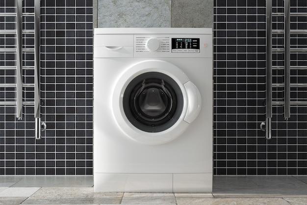 Lavatrice bianca moderna in primo piano estremo interno del bagno. rendering 3d