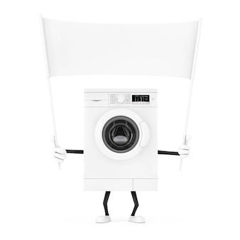 Mascotte bianca moderna del carattere della lavatrice e insegna in bianco bianca vuota con spazio libero per il vostro disegno su un fondo bianco. rendering 3d