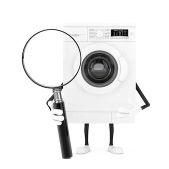 Mascotte bianca moderna del carattere della lavatrice e insegna in bianco bianca vuota con la lente d'ingrandimento su un fondo bianco. rendering 3d