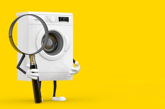 Mascotte del carattere della lavatrice bianca moderna e insegna in bianco bianca vuota con la lente d'ingrandimento su un fondo giallo. rendering 3d