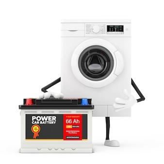 Bianco moderno lavatrice personaggio mascotte e batteria per auto ricaricabile 12v accumulatore con etichetta astratta su sfondo bianco. rendering 3d