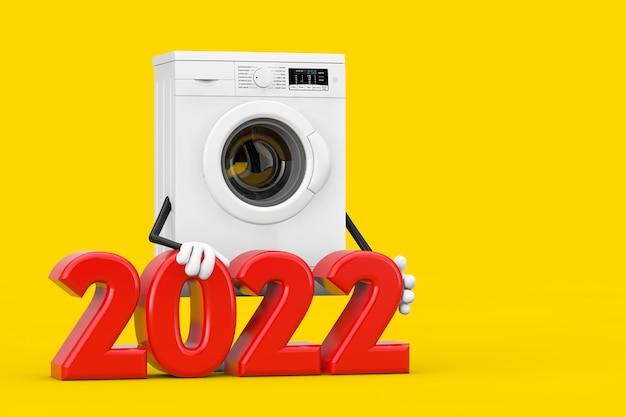 Mascotte moderna del carattere della lavatrice bianca con il segno del nuovo anno 2022 su un fondo giallo. rendering 3d