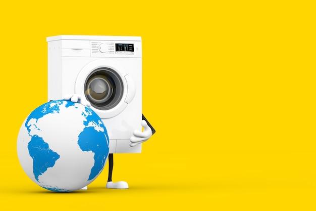 Mascotte del personaggio della lavatrice bianca moderna con confezione regalo con globo terrestre su sfondo giallo. rendering 3d
