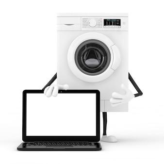 Mascotte bianca moderna del carattere della lavatrice con il taccuino moderno del computer portatile e lo schermo in bianco per la vostra progettazione su un fondo bianco. rendering 3d