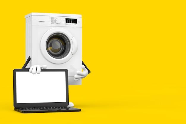 Mascotte del carattere della lavatrice bianca moderna con il taccuino del computer portatile moderno e lo schermo in bianco per la vostra progettazione su un fondo giallo. rendering 3d