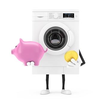 Mascotte bianca moderna del carattere della lavatrice con il porcellino salvadanaio e la moneta dorata del dollaro su un fondo bianco. rendering 3d