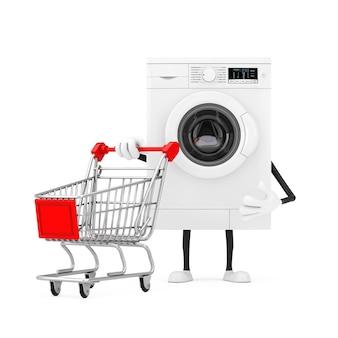 Mascotte bianca moderna del carattere della lavatrice con il carrello del carrello su un fondo bianco. rendering 3d