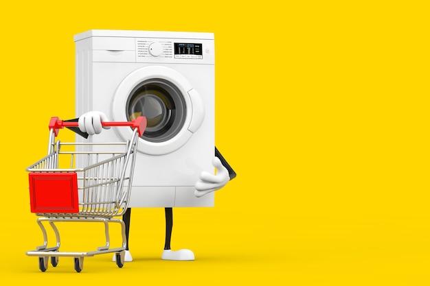Mascotte bianca moderna del carattere della lavatrice con il carrello del carrello su un fondo giallo. rendering 3d