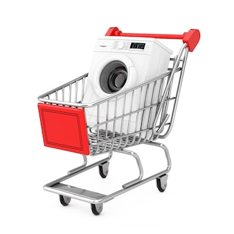 Lavatrice bianca moderna nel carrello del carrello su una priorità bassa bianca. rendering 3d