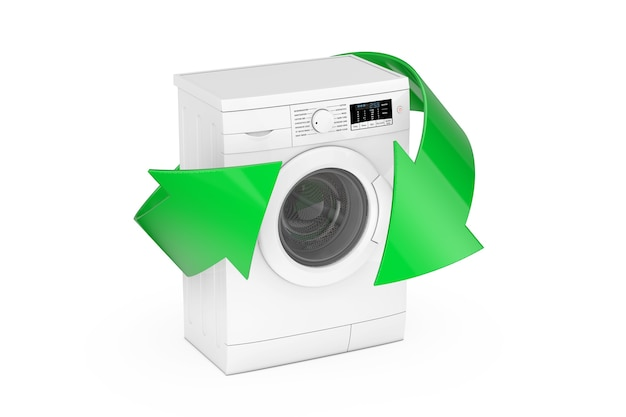 Moderna lavatrice bianca con frecce verdi su sfondo bianco. rendering 3d