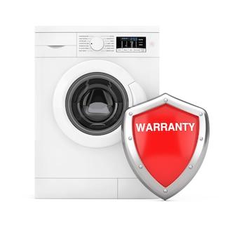 Moderna lavatrice bianca con scudo di garanzia di protezione in metallo rosso su sfondo bianco. rendering 3d