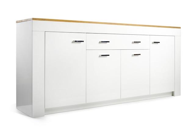Cassettone moderno in legno bianco lucido.