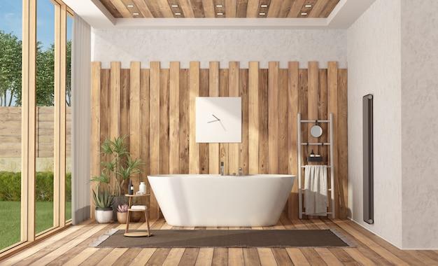 Bagno moderno in legno con vasca