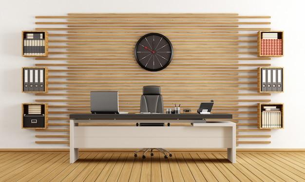 Ufficio moderno in legno con scrivania e libreria in legno