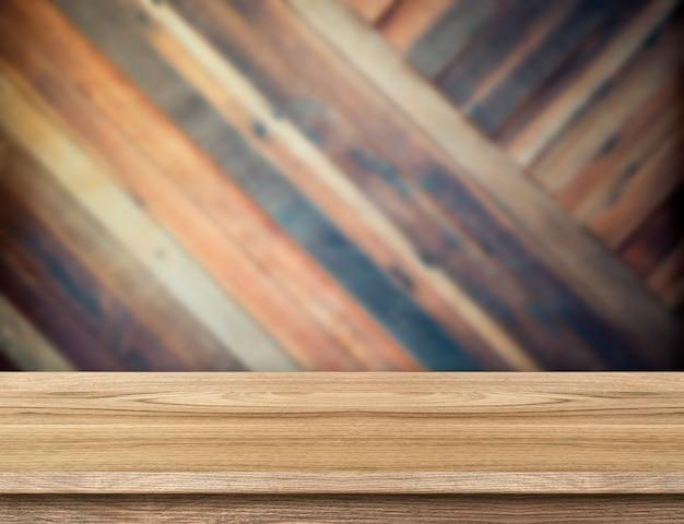 Piano d'appoggio di legno moderno alla parete di legno diagonale vaga della plancia