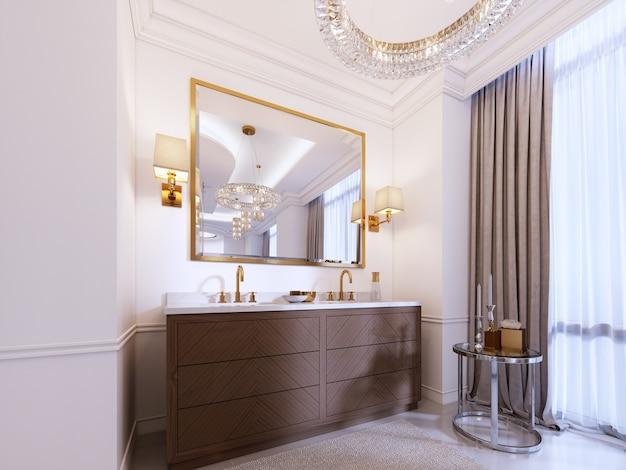 Vanità moderna in legno con specchio con cornice dorata e applique a parete, tavolino basso con decoro e tappeto con lampadario. rendering 3d.