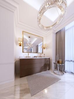 Vanità moderna in legno con specchio con cornice dorata e applique a parete, tavolino basso con decoro e tappeto con lampadario. rendering 3d. Foto Premium