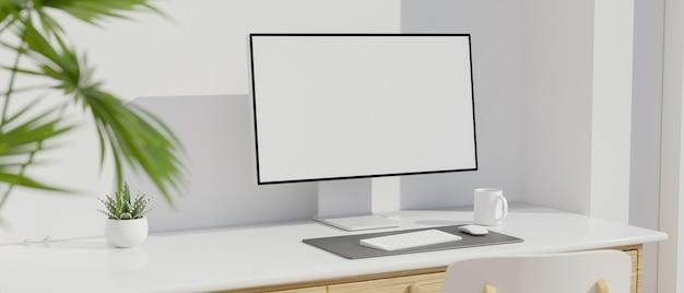 Posto di lavoro moderno con il rendering 3d del mockup dello schermo vuoto del monitor del computer e della scrivania del computer