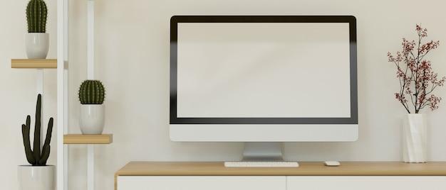 Area di lavoro moderna in stile interno scandinavo con rendering 3d mockup schermo vuoto del computer