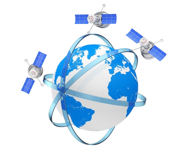 Moderno mondo globale di navigazione satellitare in orbite eccentriche intorno al globo terrestre su sfondo bianco. rendering 3d