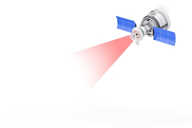 Moderno mondo globale di navigazione satellitare con trasmissione del segnale ray su sfondo bianco. rendering 3d