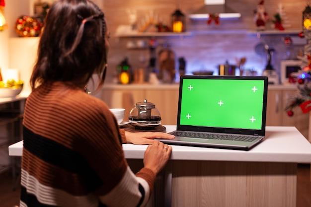 Giovane adulto moderno che guarda lo schermo verde sul laptop
