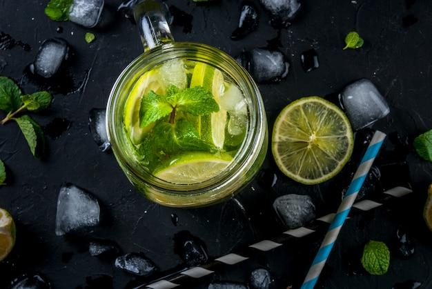 Mojito al lime in un barattolo di vetro