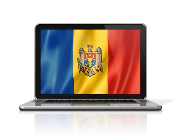 Bandiera della moldavia sullo schermo del computer portatile isolato su bianco. rendering di illustrazione 3d.