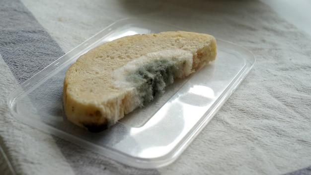 Il pane ammuffito ha spore di funghi che crescono. cibo avariato.
