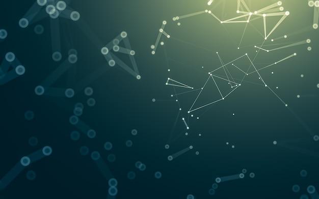 Sfondo di molecole con forme poligonali, punti e linee di collegamento