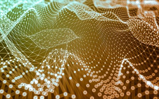 Tecnologia delle molecole con forme poligonali, punti e linee di collegamento.