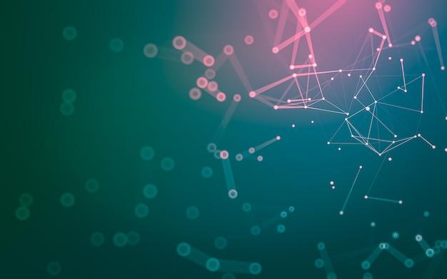 Tecnologia delle molecole con forme poligonali, punti e linee di collegamento