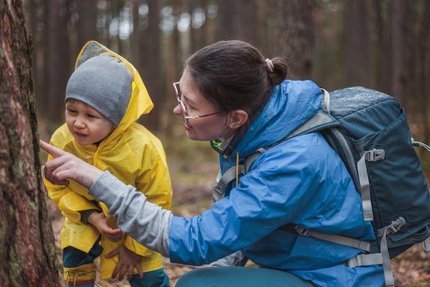 Mamma e bambino che camminano nella foresta dopo la pioggia in impermeabili insieme, guardando la corteccia di un albero