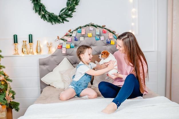 La mamma dà il cucciolo di jack russell alla figlia la vigilia di capodanno sullo sfondo del calendario dell'avvento, famiglia amorevole nella stanza