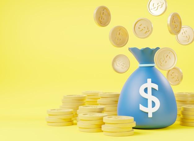 Sacco dei soldi con il sacco dei soldi del dollaro sacco dei soldi con l'illustrazione della rappresentazione 3d delle monete del dollaro
