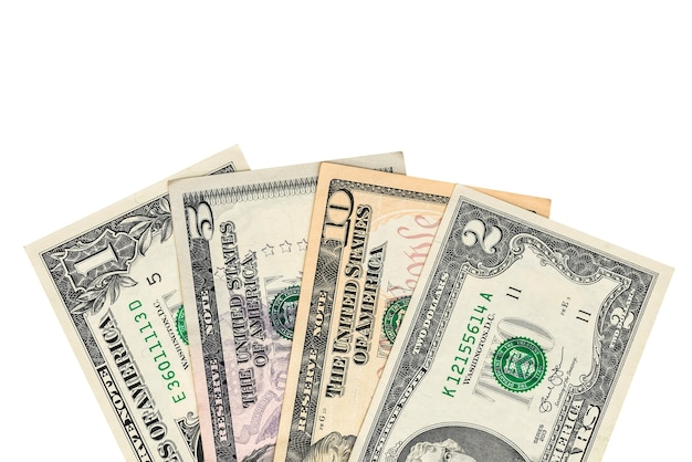 Dollari di denaro isolati su uno sfondo bianco