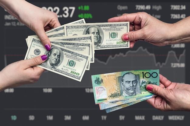 Concezione dello scambio di denaro sullo sfondo del grafico commerciale