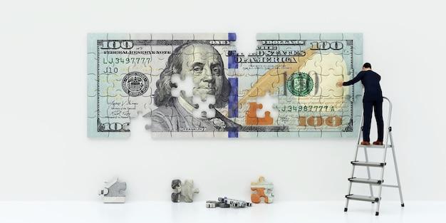 Creatore di soldi. dollaro di puzzle. l'uomo d'affari crea denaro, rendering 3d