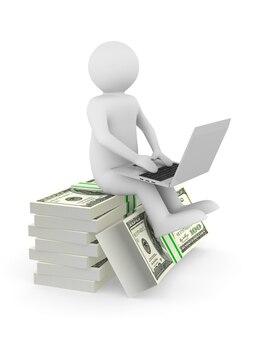 Soldi e uomo con laptop su sfondo bianco. illustrazione 3d isolata