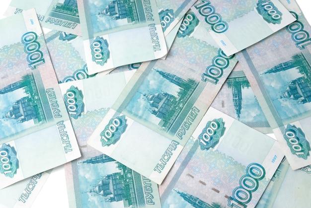 Soldi in russia. banconote da mille rubli. Foto Premium