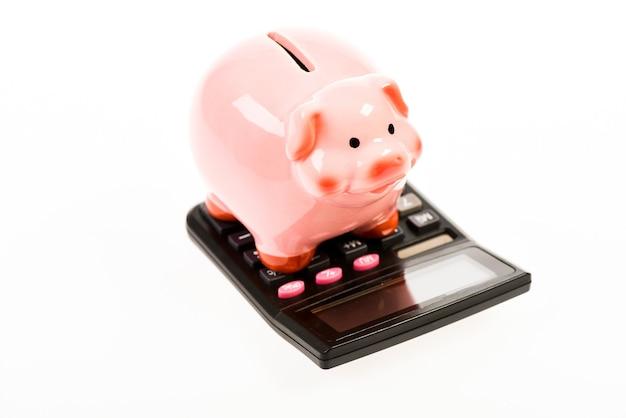Risparmio di denaro. contabilità e buste paga. gestione del capitale di reddito. pianificazione e conteggio del budget. salvadanaio con calcolatrice. salvadanaio. contabilità. problema finanziario. quindi cosa hai per me.