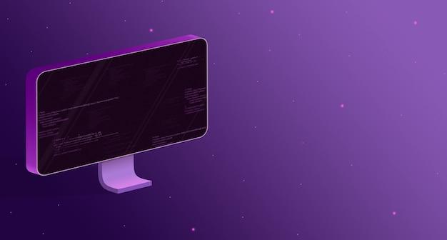 Monitorare con elementi del codice del programma sullo schermo su uno sfondo viola 3d