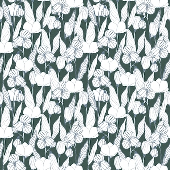 Fiori grafici monocromatici su sfondo verde modello senza cuciture stampa floreale ornamento d'arte linea botanica per carta da parati in tessuto tessile design e decorazione di carta da imballaggio