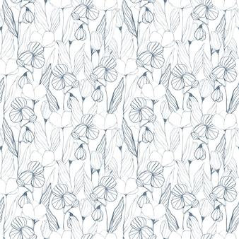 Fiori grafici monocromatici su sfondo bianco modello senza cuciture stampa floreale linea botanica ornamento artistico per carta da parati in tessuto tessile design e decorazione