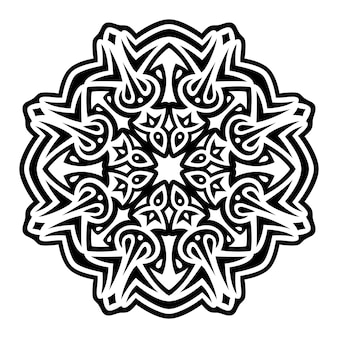 Illustrazione vettoriale monocromatica con motivo tribale nero astratto su sfondo bianco