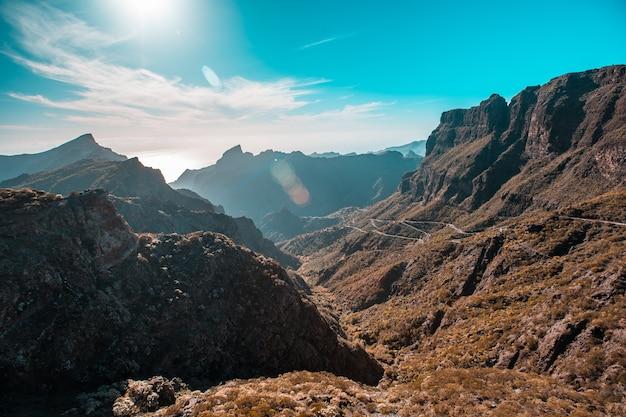 Strada del monte de masca sull'isola di tenerife, isole canarie. spagna