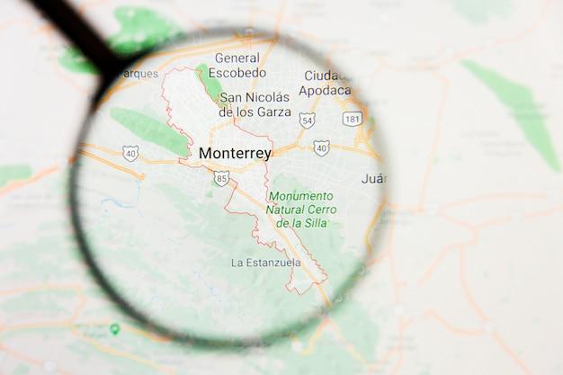 Concetto illustrativo di visualizzazione di monterrey, città del messico sullo schermo tramite la lente d'ingrandimento