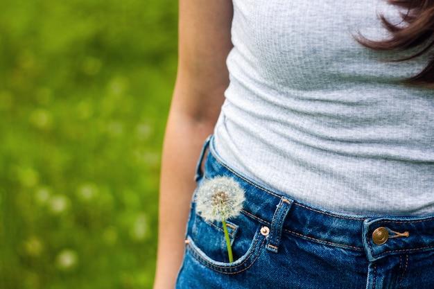 Foto lunatica di estate di un fiore del dente di leone in una tasca dei jeans su spazio verde.
