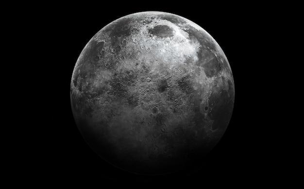 Luna nello spazio, illustrazione 3d.