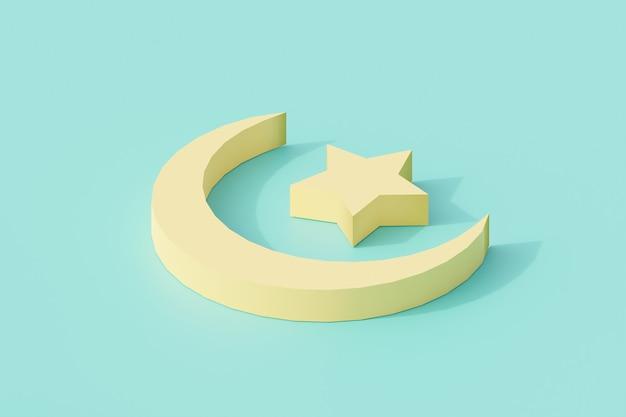 Luna e stella per simbolo e segno di religione islamica.